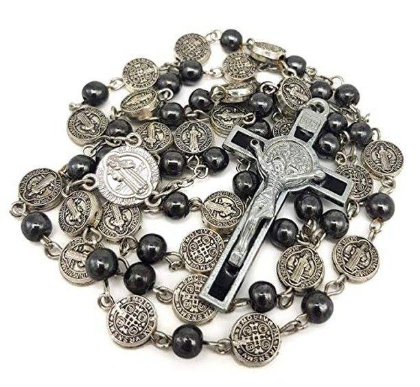 a9b75596d93 @nazarethstore posted to Instagram: Nazareth Store Catholic Rosary Necklace  Black Hematite Beads Saint Benedict