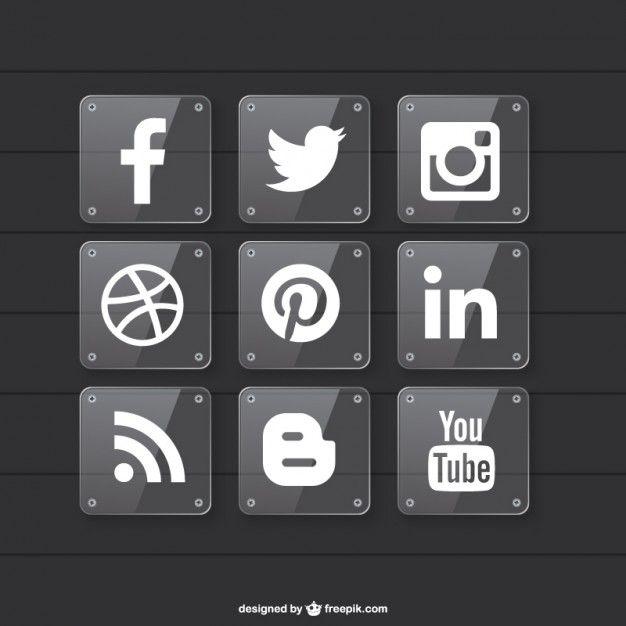 Iconos de redes sociales con fondo transparente Vector Gratis