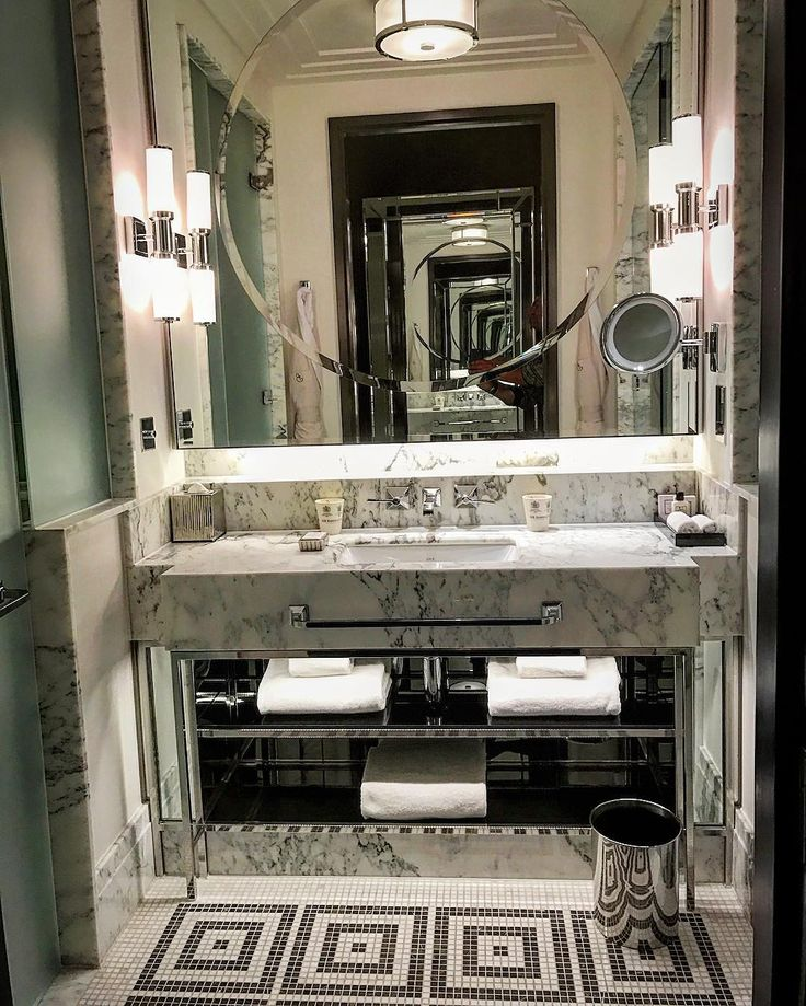 Bathroom chic-ness at the Beaumont hotel , london . Art Deco glam meets modern day luxury and travelers essentials. #designanddecoration