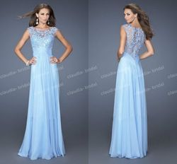 Online Shop L19638 High Quality Custom Made Light Blue Beaded Tulle Top Modest Prom Dresses With Sleeves|Aliexpress Mobile