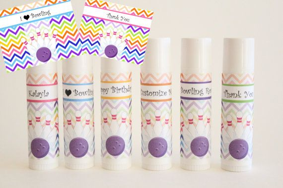 Bowling Party Favor - Bowling Lip Balm - Custom Kids Party Favors - Set of 6 - FREE Customization - Bowling Party on Etsy, $12.00