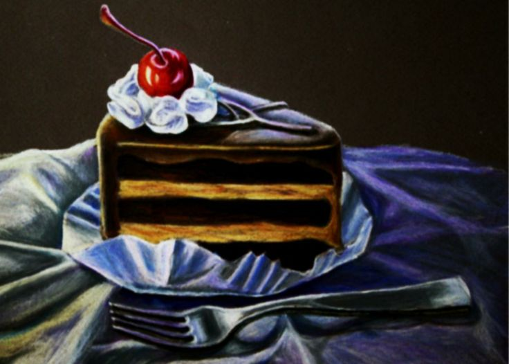 Espresso Cake Colored Pencil Drawing Hillaryscottetsy