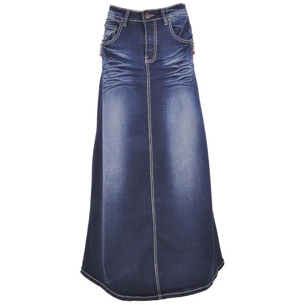 Style J Twilight Diva Long Jean Skirt ($5) ❤ liked on Polyvore featuring skirts, jean skirts, long maxi skirts, style j, long blue maxi skirt, long skirts and blue maxi skirt