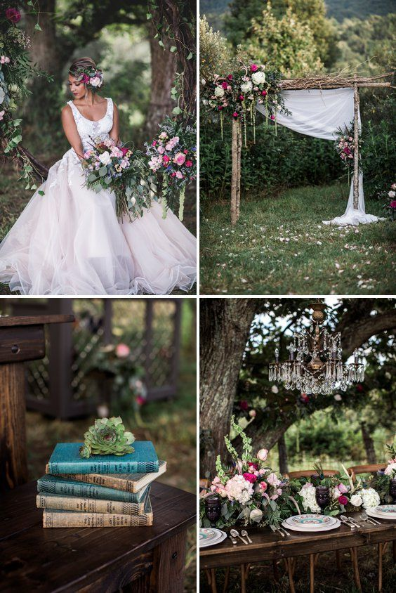 Enchanted Garden Fairytale Wedding Inspiration - A PRINCESS INSPIRED BLOG | Blush and Dark Pink Wedding Decor with Magical Wedding Lights