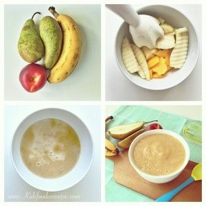 Pear, Banana & nectarine baby puree - fruit puree suitable from 6 months