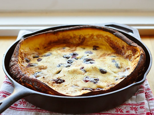 Roasted Cherry Dutch Baby with brown sugar -cinnamon sauce from The ...