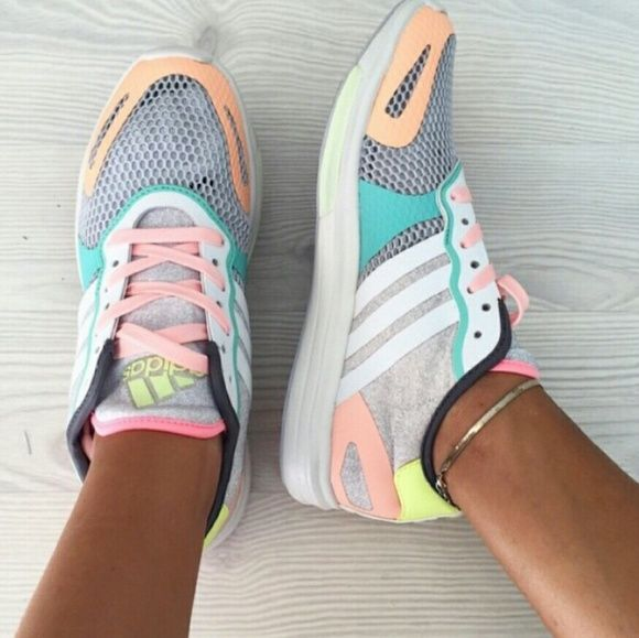 Adidas Stella McCartney Pastel sneakers Adidas x Stella McCartney Sneakers in this super cute pastel color. Never worn, comes with box.  Willing to negotiate on Merc Adidas by Stella McCartney Shoes Athletic Shoes