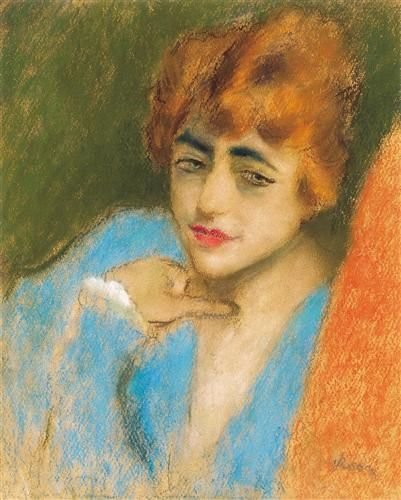 Girl Dressed up in Blue - Jozsef Rippl-Ronai