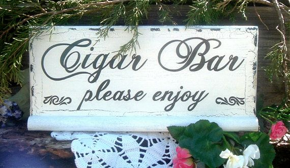 Painted Cigar Bar Wedding Sign Rustic Wedding Sign by ArtIllusions
