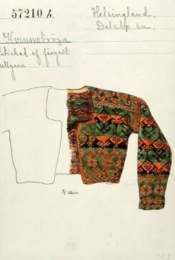Drawing to a knitted women's jacket, typical traditional pattern from Delsbo, Hälsingland county, Sweden. | Stickad kvinnotröja från Delsbo, Hälsingland.