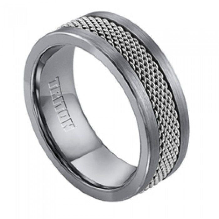 Triton tungsten carbide 8mm wide wedding ring in traditional gun metal gray color has steel mesh inlay with gray color. Tungsten carbide is ten times harder than 18Kt gold, and is scratch and tarnish resistant. This wedding ring is part of the matching His & Hers Wedding Rings Collection, and is available in both men's and women's ring sizes. For the matching women's wedding ring, see style number 11_3215C_46.