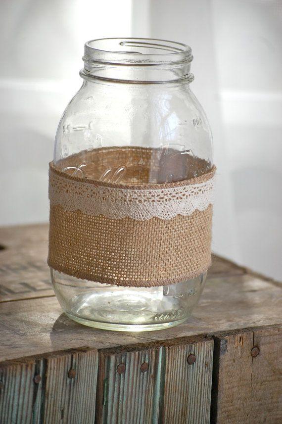 Burlap and lace mason jar, rustic wedding decor