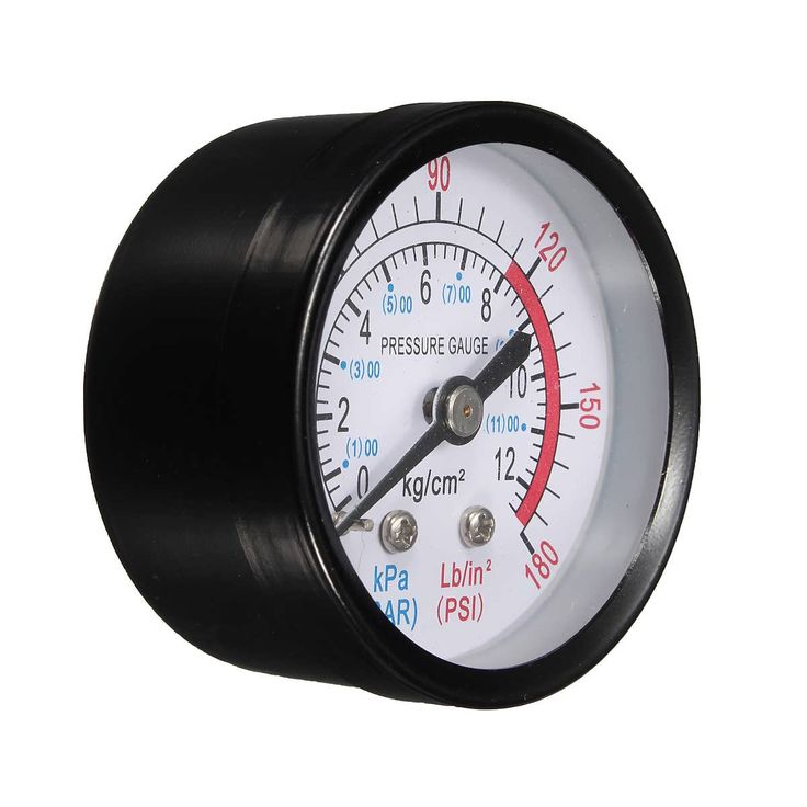 "Description:    1/4"" BSP Thread 0-180PSI 0-12Bar Air Pressure Gauge For Air Compressor Iron  	Specification:  	    		Small enough.  		Easy to read dial.   	Colour: Black  	Material: Iron Shell  	Diameter: About 52mm  	Thread Diameter: About 13mm (1/4""BSP)  	Pressure Range:..."