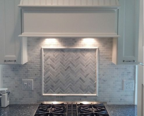 Backsplash combinations of shiny cobalt blue and pure Italian marble backsplash
