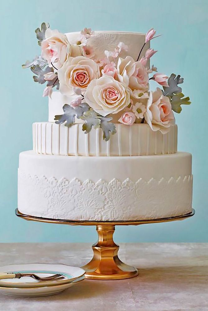Elaborate Fondant Flower Wedding Cakes ❤ See more: http://www.weddingforward.com/fondant-flower-wedding-cakes/ #weddings