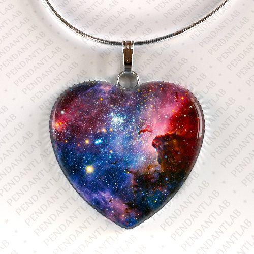 Galaxy Heart Pendant, Galaxy Necklace, Space, Universe Necklace, Geek Pendant, Geek Jewelry, Multi Color Necklace, Colorful Necklace $14.95