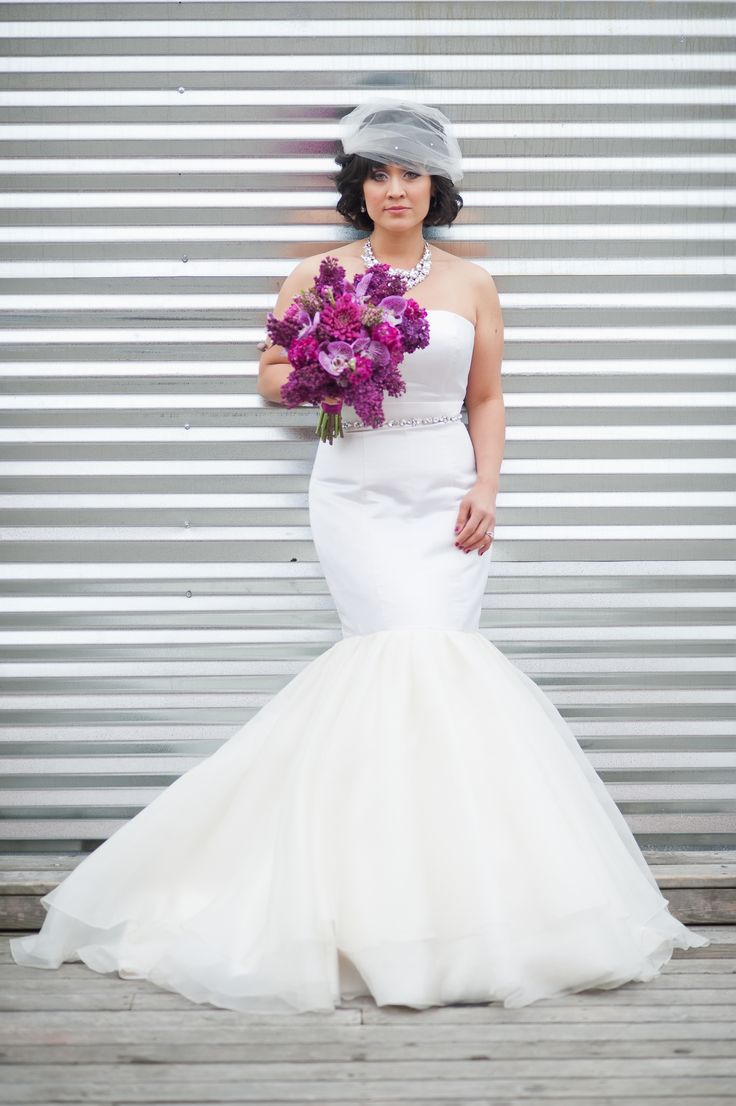 51 best urban bridal portrait ideas images on pinterest portrait gorgeous purple bouquet and mermaid style wedding gown photo by nikki closser via junebugweddings ombrellifo Image collections