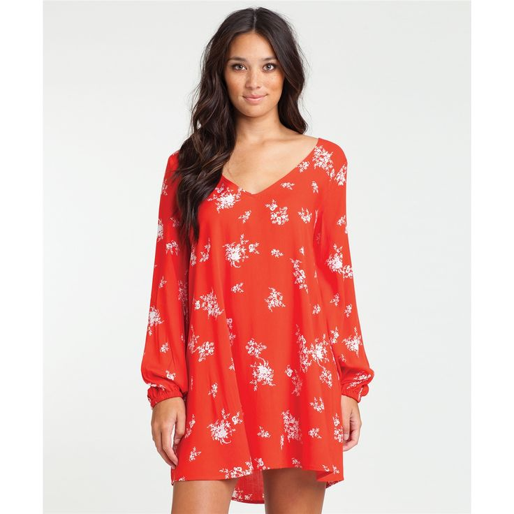 Billabong 'Sweet Tomorrows' Floral Print Dress rayon rio red/white, off  black/white szS