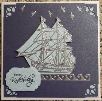 004_S14_Ship with Sails, Decorative Corners and Sentiment. Handmade by Diane Prinsloo (Lubbe).