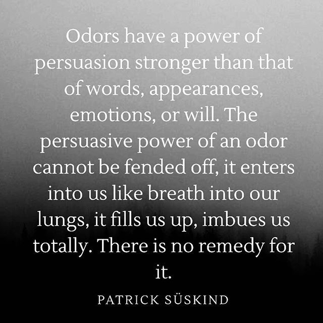 This quote is from the book Perfume: The Story Of A Murderer by German writer Patrick Süskind. The film adaptation of the novel is what pushed my interest in the art of perfume forward over a decade ago. Its a gorgeous gothic horror film which explores the sense of smell and its relationship with the emotional meaning that scents have. I find this quote particularly beautiful because it speaks to the power of perfume and its magical presence. I wasnt finding that magical and evocative…