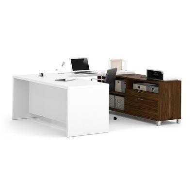 Bestar 1208 Pro-Linea Executive Desk/2-Drawer Credenza U-Desk Set