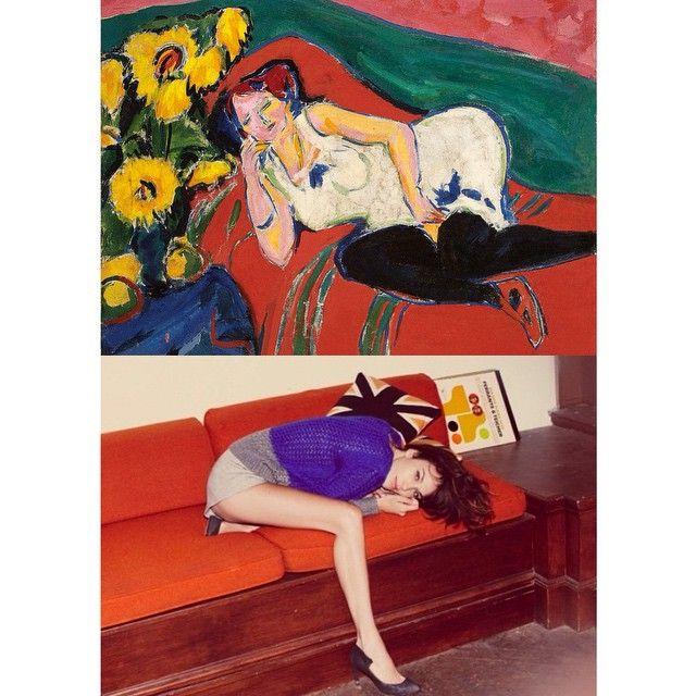 """Mi piace"": 2,353, commenti: 18 - Art-lexa Chung (@artlexachung) su Instagram: """"Reclining Woman in a White Chemise"" by Ernst Ludwig #Kirchner (1909) / Alexa Chung x Fray I.D."""