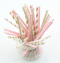125 stks (5 zakken) roze goud gestreepte gemengde kids verjaardag bruiloft decoratieve decoratie gebeurtenis levert drinken papier rietjes(China (Mainland))