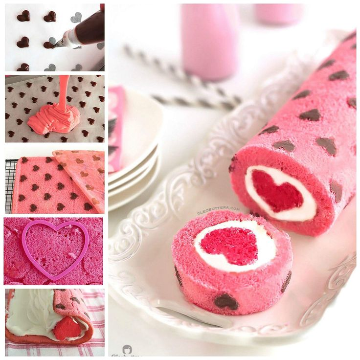 """Love is All Around"" Cake Roll - Heart patterned cake roll made easier with a CAKE MIX!  It is filled with a cloud-like whipped cream cheese frosting, and unveils a cute 'lil heart with"