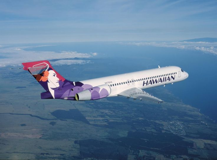 """Hawaiian Airlines Boeing 717 -- aircraft used in daily inter-island service...with the beautiful and distinctive """"Pualani"""" (flower of the sky) tail graphic..."""