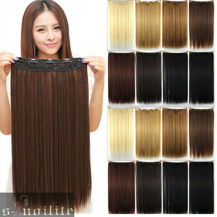 긴 클립 원피스 26 인치 66 센치메터 스트레이트 블랙 브라운 금발 붉은 적갈색 원피스 머리 확장