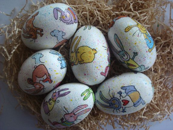 Bunnies easter eggs by Valelval on Etsy