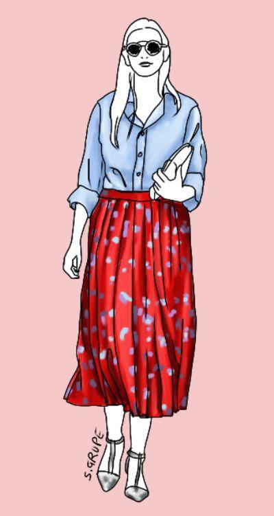 Die hellblaue Bluse wird hier im Stilbruch mit einem roten Faltenrock aus Seide und silbernen Stilettos kombiniert. So glamourös wird sie sogar abends tragbar... aber nicht mit mir..