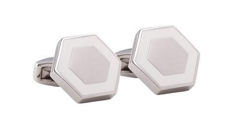 Hardy Amies white hexagon cufflinks. . #Dapper #Gentleman #Men #Menswear #BritishTailoring #Suit #SlimFit #Shirt #Tailored #Vintage #Class #Streetstyle #Classic #Classy #HardyAmies #LondonStyle #ModernMan