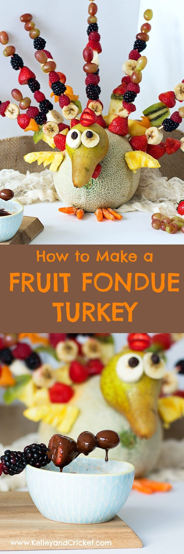 FRUIT TURKEY with CHOCOLATE FONDUE {VIDEO!}{Grain-Free,Paleo}