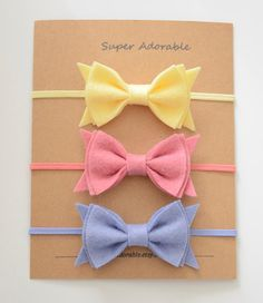 Felt Bow Headband or CHOOSE your COLOR Newborn by SuperAdorable