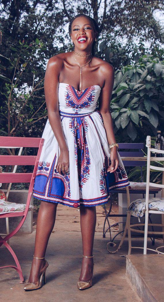 Zimnandi Midi Dashiki vestido africano impresión Vestido