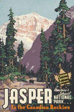Artist Unknown  Jasper in the Canadian Rockies - Canadian National Railways, 1939