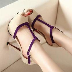 Online Shop Female shoes 2014 summer t belt high-heeled shoes open toe shoe thin heels nubuck leather women's sandals|Aliexpress Mobile
