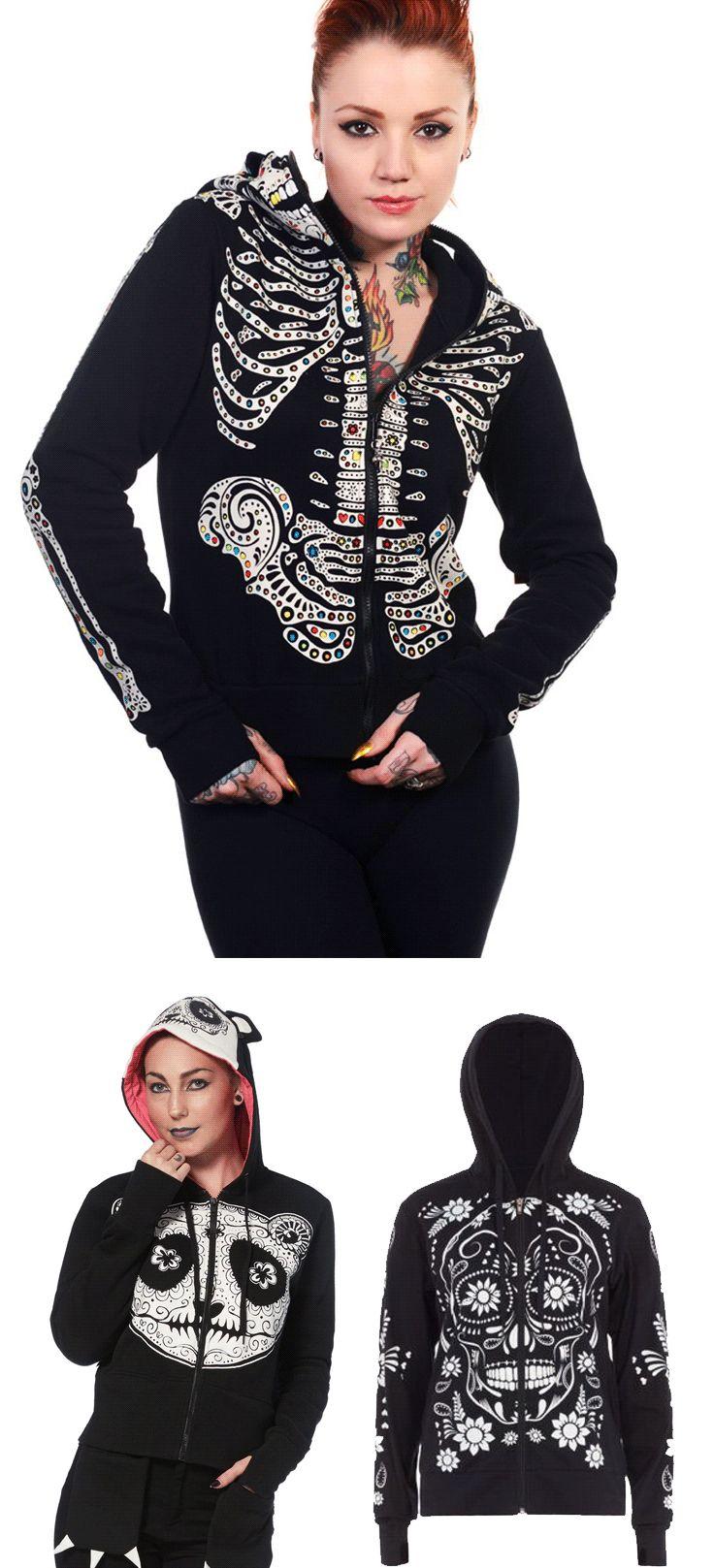 Shop gothic emo sugar skull hoodies at RebelsMarket.