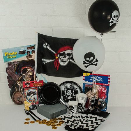 Pirate party package. Great value delivered to your door. http://www.qualitytimepartysupplies.com.au/shop/party-packages/pirate-boy-party-package/