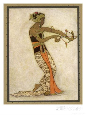 Javanese Dancer Drawing a Bow in a Highly Stylized Movement Giclee Print by Tyra Kleen at AllPosters.com