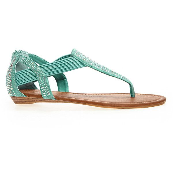 Avenue Plus Size Tammi Embellished Stretch Thong Sandal ($13) ❤ liked on Polyvore featuring shoes, sandals, plus size, teal, teal shoes, toe thong sandals, wide width shoes, embellished sandals and flat thong sandals