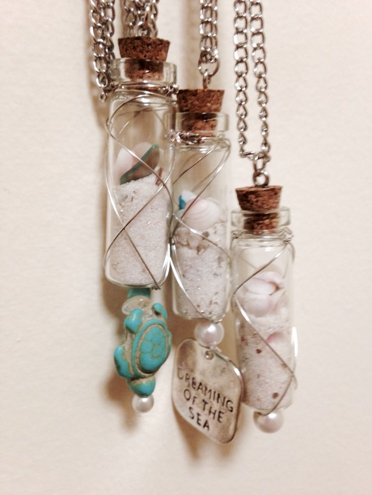 Wire-wrapped mini glass bottle necklace. Filled with sand ...