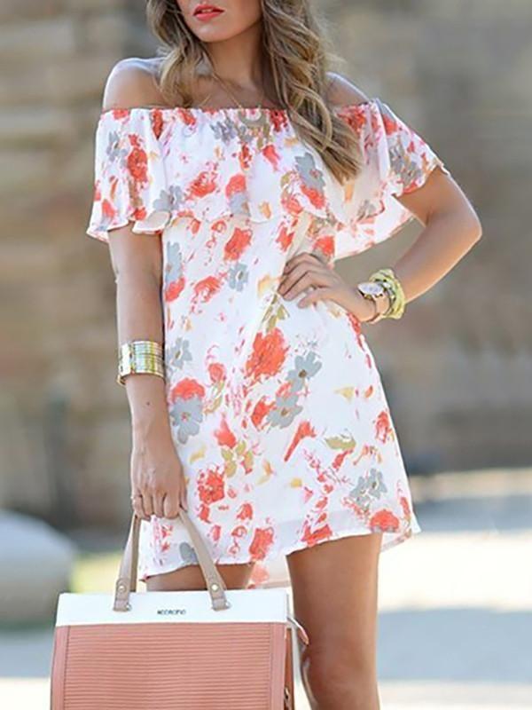 Fashion Floral Off-the-shoulder Falbala Ruffled Mini Dress