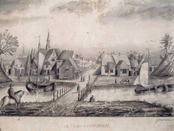 De stad Coevorden in 1874, na de sloop van de Bentheimerpoort (tekening van G.G. Soutekou) - Coevorden - Wikipedia