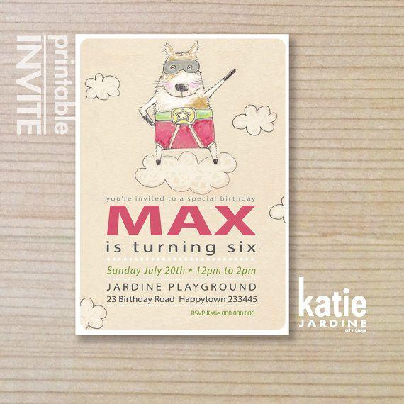 kids invitation - boys invitation - childrens invitation -  printable invitation - SUPER HERO  - Natural - super dog - on Etsy, $20.00 AUD
