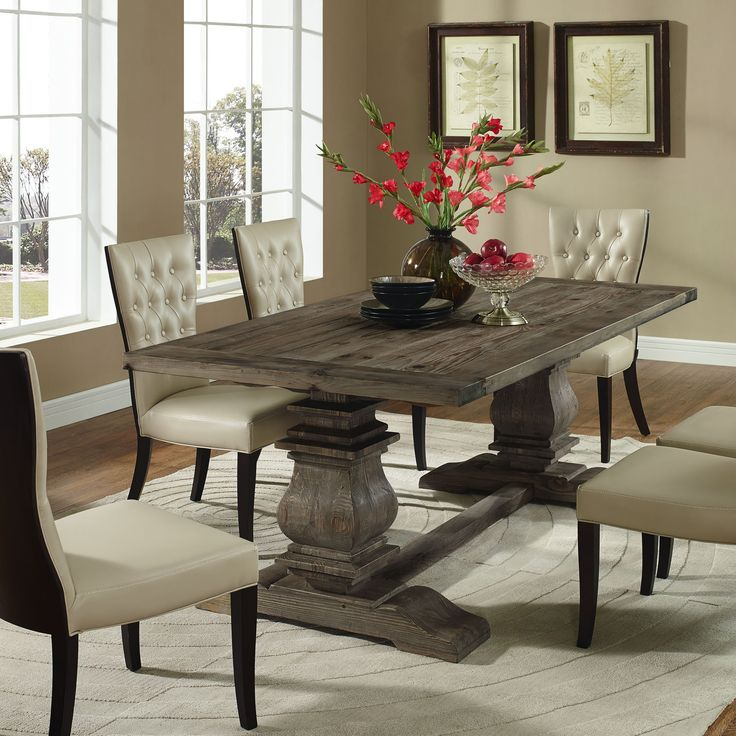 column wood dining table in brown - Dining Table Design Ideas