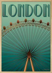 Visse Vasse: 30x40 cm plakat indrammet i flot EGE FINÉR ramme. Beskrivelse: London Eye Åhhh hvilken udsigt der er! - Der på toppen af LONDON Eye. Når man topper, er man hele 135 meter oppe. Pariserhjulet har 32 fine kabiner, med aircon und alles. En fuld rotation tager ca. en halv time. Plakaten er trykt på 180 gram mat papir. Mål på plakaten 30x40 cm Pris (indrammet) 375,- Flot og elegant EG FINÈR træramme.
