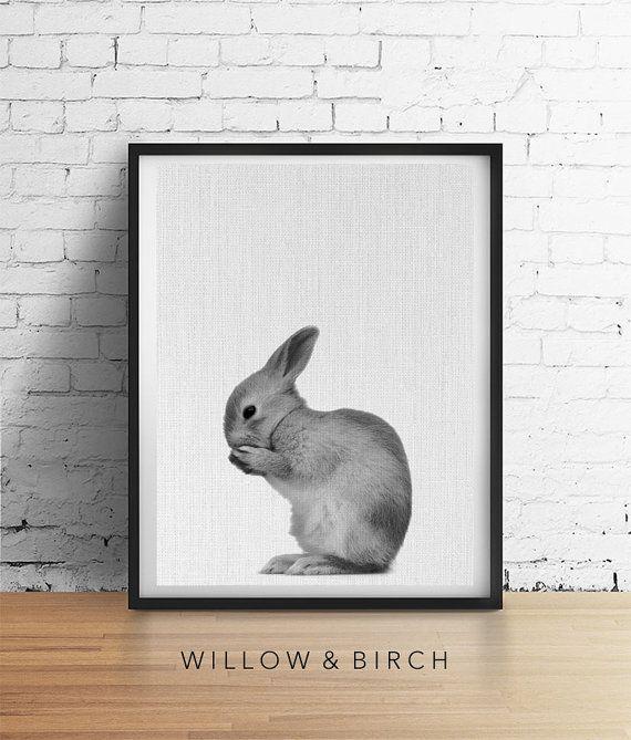 Baby RABBIT Printable Art Rabbit Print by WillowandBirchPrints