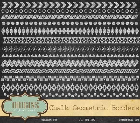 Check out Geometric Chalkboard Borders by Origins Digital Curio on Creative Market